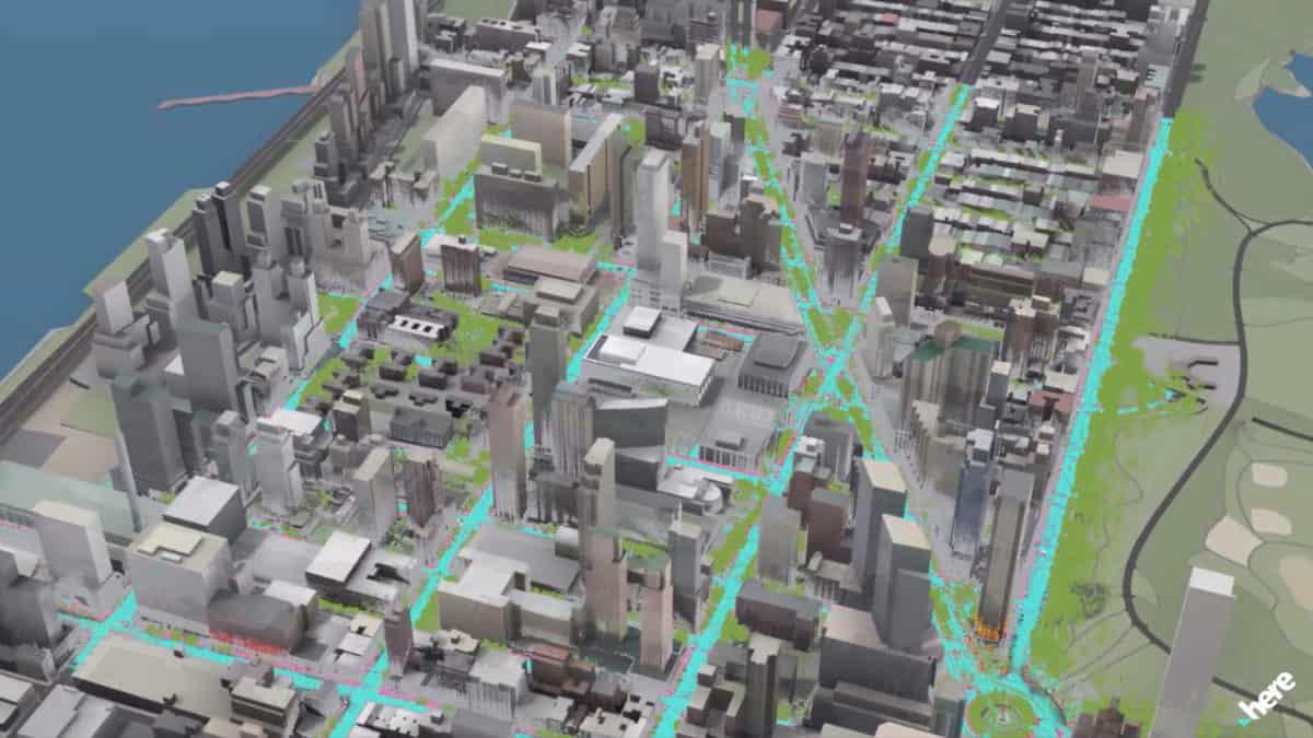 Carte HERE de la vile de NY pour installer les antennes 5G