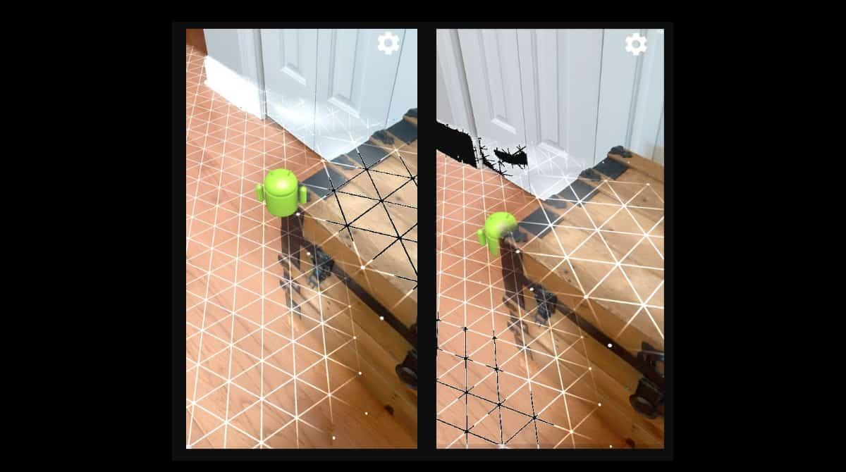 Les images montrent une figure Android virtuelle dans un espace réel contenant un coffre à côté d'une porte. L'API Depth masque correctement la figure derrière le bord du coffre.