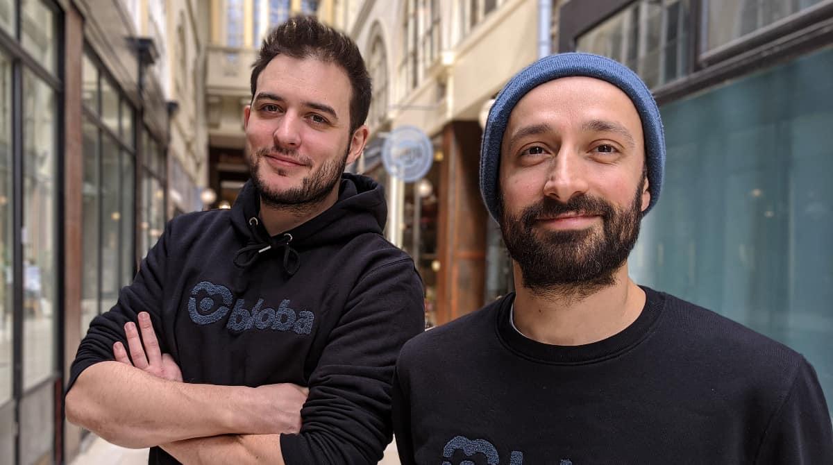 Benjamin Hardy Fondateur/CEO (avec le bonnet) & Baptiste Rousseau Fondateur/CTO