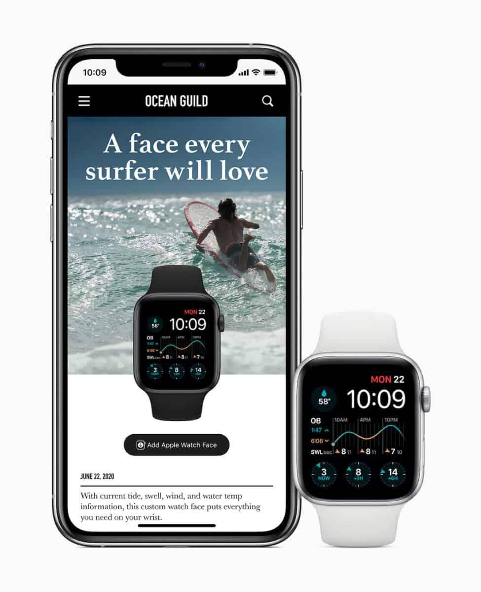 Les complications de l'app Dawn Patrol permettent de connaître les horaires des marées, la vitesse du vent et la température de l'eau de différents spots de surf.
